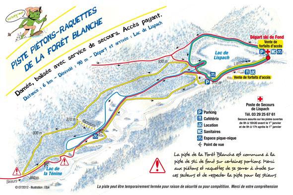 plan piste raquette forêt blanche fond lispach la bresse vosges
